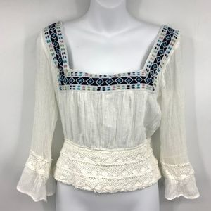 Jen's Pirate Booty Embroidered Crochet Boho Top S